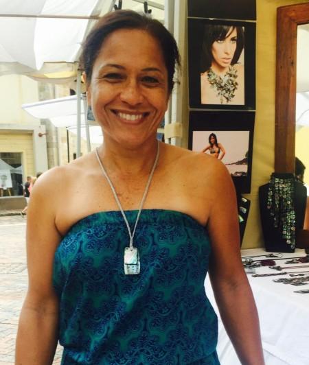 Keala from Hawaii wearing Grey Threat Mayan Necklace
