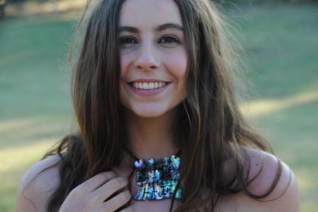 Emme Williams FB Winner wearing Matrix Necklace Libby Pool Jewellery