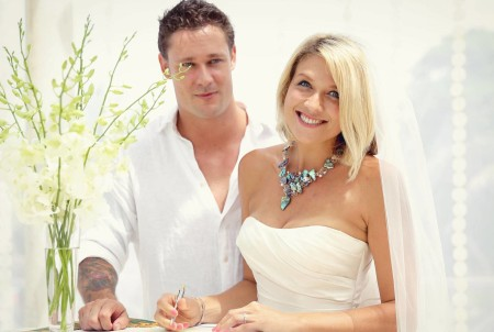 Cassie and Andrew McCulloch wearing Princess Necklace Libby Pool Jewellery and Design