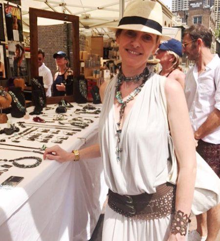 French Helene wearing Seahorse Necklace